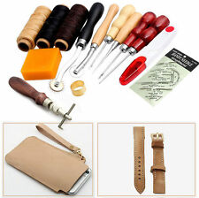 14Pcs Leather Craft Hand Stitching Sewing Tool Thread Awl Waxed Thimble Kit Hot