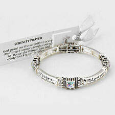 Serenity Prayer Bangle Bracelet SILVER CLEAR AB Crystals Stretch Courage Jewelry