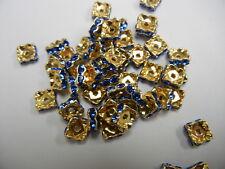 48 Swarovski Xilion squaredelle rhinestone rondelles 8mm Sapphire / Gold