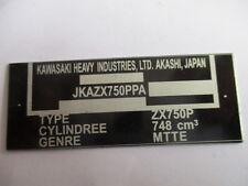 Panneau plaque id d'étiquette Kawasaki Moteur vélo plaque targhetta s21 1