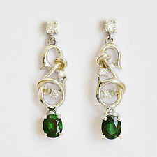 TSAVORITE 18K WHITE GOLD EARRINGS. ORIGINAL CAD DESIGN. GREEN GARNET + DIAMONDS.