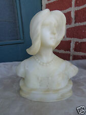 ANTIQUE VICTORIAN 19th CENTURY HAND CARVED ALABASTER LADY TAMBOURINE BUST STATUE