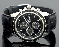 CASIO EDIFICE Chronograph 100M EFR526L-1AV EFR-526L-1AV Black Leather Free Ship!