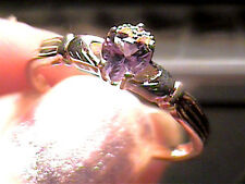Russian Alexandrite Ring 9 irish CLADDAGH SILVER full color change purple blue