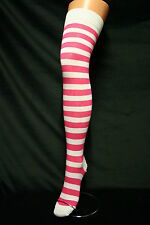 FUSHIA PINK AND WHITE STRIPE LADIES/GIRLS OVER THE KNEE HIGH SOCKS SEXY PIRATE?