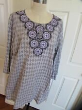 Dana Buchman Women's Gray/Black/Lavender 3/4 Sleeve Cotton Stretch Tunic top 2X