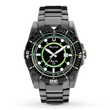 Bulova Men's 98B178 Marine Star Black and Green Dial Stainless Steel Watch