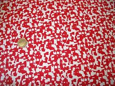 FINE COTTON SATIN PRINT- RED/WHITE MONO JIGSAW-DRESS FABRIC-FREE P&P