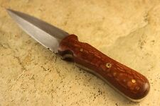 New Small Handmade Damascus Steel Fixed Blade Dagger Knife Leopard Wood Handle ~
