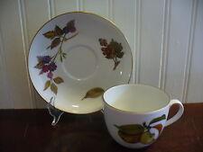 1961 Royal Worcester England Fine Porcelain Evesham Cup and Saucer