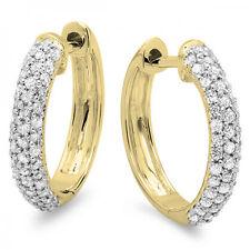 0.50 CT 14K Yellow Gold Round Diamond Ladies Pave Set Huggies Hoop Earrings