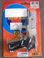 SILVER 45 MAG PLASTIC 8 SHOT CAP GUN PISTOL new play toy guns boys toys NEW PROP