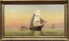 Fine Large 19th Century Ship Sailing Sunset Marine Oil Antique Painting