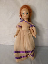 "RARE ANTIQUE 1900'S WOOD COMPOSITION WOODEN DOLL~11"" TALL~RED HAIR~BLUE EYES"
