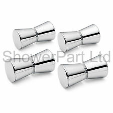 4 x SHOWER DOOR HANDLES/KNOBS CHROME PLATED ZINC ALLOY CONE SHAPED L050