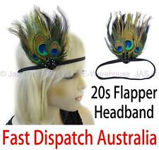 20s Gatsby Party Costume Head Piece Hair Band Flapper Peacock Feather Headband