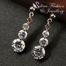 18Ct Rose Gold Plated Three Diamonds Drop Round Cut Sparkling Earrings Jewellery