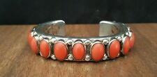 RARE HEAVY 138 gram ORVILLE TSINNIE Natural Red Coral NAVAJO CUFF Bracelet