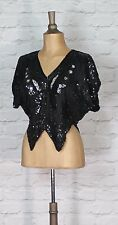 Vintage Top Blouse 80s Women Evening Cocktail Party Sequins Butterfly UK 10