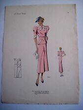 Vintage Print of Woman in French Fashion Design Clothes w/ Gorgeous Pink Dress*