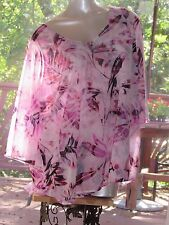 Women's Jennifer Lopez Pink and White Leaves Sheer Lined Blouse in Size 1X 18 20