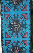 """Woven Table Runner 16x80"""" + Fringed Ends Southwestern Native American Blue #3"""