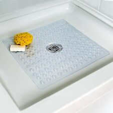Square Non slip Deluxe Bath / Shower Mat, PVC, Bubble Effect Anti Slip, Clear