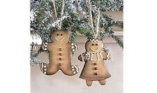"Gingerbread Boy & Girl Christmas Ornaments, Set of 2, 3¼"" Tall, Country House"