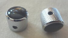 METAL DOME KNOBS CONTROL VOLUME TONE MIGHTY MITE CHROME w/ BLACK PEARL TOP