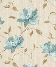 Heavyweight Vinyl Floral Teal ** - Rasch Bellisima Wallpaper 511017