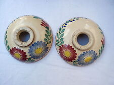 BOUGEOIRS,BOBÈCHES ANCIENNES,   FAIENCE QUIMPER RARE DECOR FLORAL