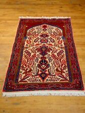 "Handmade Persian Tabriz Style Rug, Ivory/ Red, 3'3"" X 4'11"" La435"