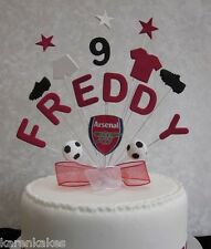 PERSONALISED ARSENAL FOOTBALL BIRTHDAY CAKE TOPPER ANY NAME AND AGE