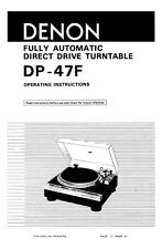 Denon DP-47F Turntable Owners Manual