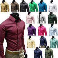 Mens Luxury Casual Formal Long Sleeve T-Shirt Slim Fit Business Dress Shirts TOP