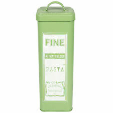 Retro Verde Smalto Tall PASTA SPAGHETTI tin jar Kitchen Storage container POT