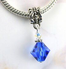 Large Blue Crystal Dangle Charm Beads w Swarovski Elements European Style