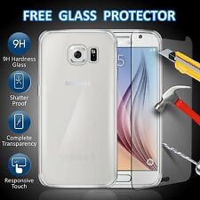 For Samsung Galaxy S6 Clear Ultra Thin TPU Gel Case Cover & Tempered Glass