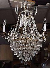 Stunning Antique 9 Light Tiered Hanging Crystal Chandelier Regency Prism Brass