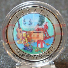 2015 - Canada - Holiday Lenticular - Christmas Toy Box - 50-cent Coloured Coin