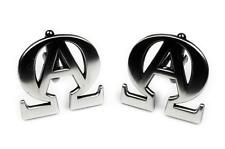 ALPHA OMEGA Christian Catholic God Crucifix God Biker Harley Suit Cufflinks Pair