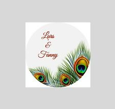 120 Personalized Custom Peacock Wedding Round Stickers Envelope Seal Seals