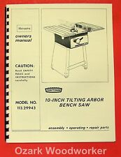 "CRAFTSMAN 113.29943 10"" Tilting Arbor Bench Saw Operator & Parts Manual 0180"