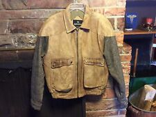 VTG Mens Large BERMANS Brown Leather & WOOL/TWEED Bomber Pilot Motorcycle Jacket