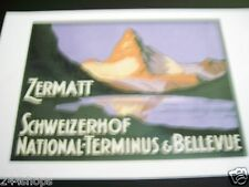 Vintage Luggage Label - Baggage Decal ZERMATT SCHWEIZERHOF NATL TERMINUS BELLEVU