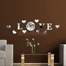 Home Modern Decor Living Room Love Crystal Mirror Decal Wall Clock Silver