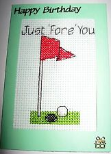 """Birthday Card Completed Cross Stitch Golf Just 'Fore' You 6x4"""""""