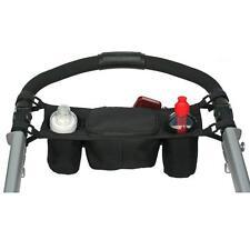 Babt Stroller hanging Bag bottle Cup Holder Black Safe Console tray pram Bag