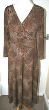 VIYELLA UK14 EU42 BROWN STRETCH JERSEY DRESS WITH 3/4 SLEEVES AND CROSSOVER BUST