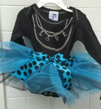 Haute Stuff Baby Girl Size 12m Blue Black Tutu Onesie Dress BNWT New Shower Gift